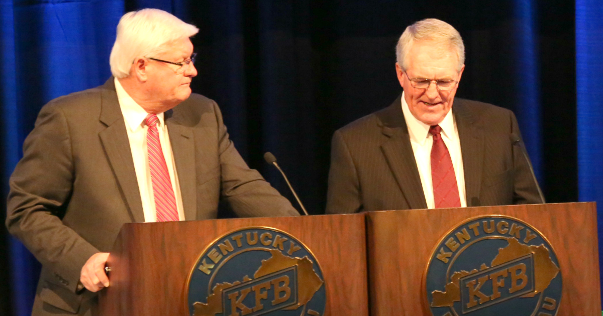 KFB President Mark Haney and 1st Vice President Eddie Melton review the organization's policy with delegates at Kentucky Farm Buruea's Annual Meeting