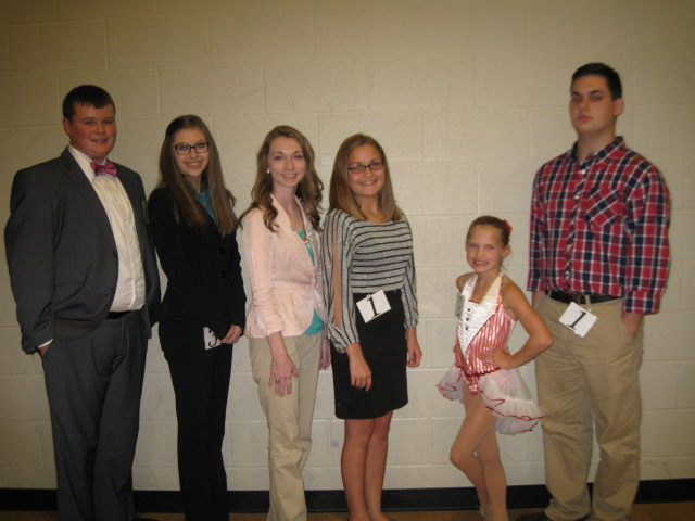 Pictured from left to right: Barren County Outstanding Farm Bureau Youth Contestants were: left to right Bradon Burks(winner), Mariah Hughes(winner), Sara Butler and Courtney Pedigo and Variety Contestants were Anna K. Alexander(winner) and Daniel Bannister.