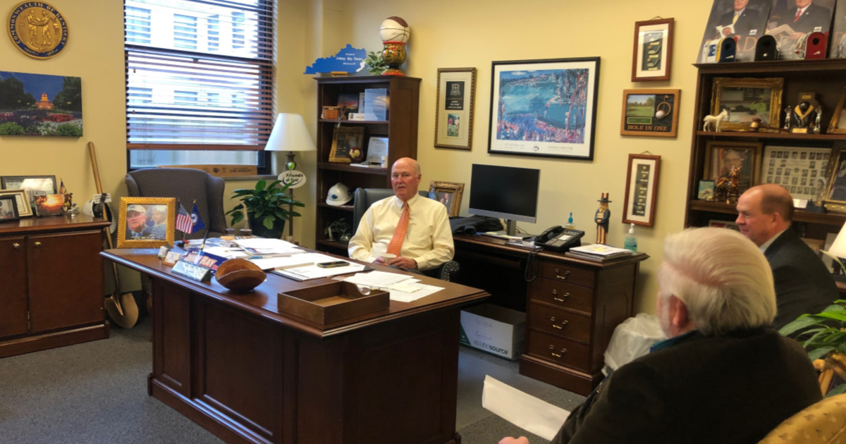 Kentucky Senator Johnny Ray Turner meets with Floyd County Farm Bureau President Saul Akers and Floyd County Farm Bureau Vice President Billy Hicks during Kentucky Farm Bureau's Legislative Drive-In Day.