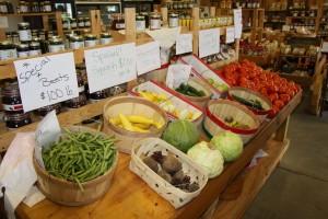 Variety of vegetables on display at Brumfield Farm Market.