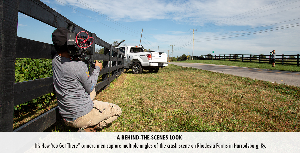 """It's How You Get There"" camera men capture multiple angles of the crash scene on Rhodesia Farms in Harrodsburg, Ky."